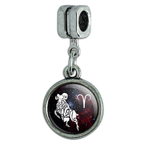 Zodiac Symbol Sign Italian Charm (Aries Zodiac Sign Horoscope in Space Italian European Style Bracelet Charm Bead)
