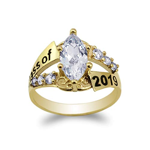 JamesJenny Yellow Gold Plated Graduation Class of 2019 School Ring with 1.25ct Marquise CZ Size 6