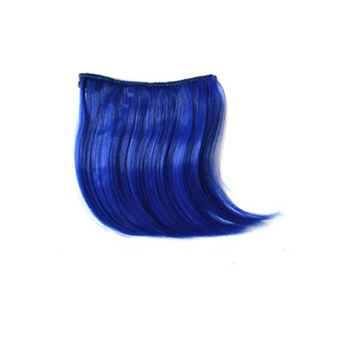 Mikong Colorful Wig Hair Extensions,Pretty Girls Clip On Clip In Front Hair Bang Fringe Hair Extension Piece Thin (blue)