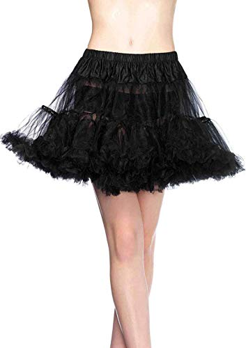 Halloween Witch Costume Accessories (Leg Avenue Women's Layered Tulle Petticoat, Black,)