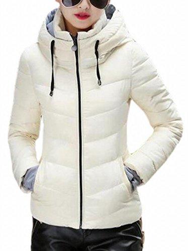 Coat Solid Zipper UK Hoodie Puffer Slim Warm 4 Women Winter Thicken today Fit AFqaPwA