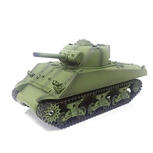 1/16 Scale Remote Control RC Tank, 2.4G Henglong 1/16 Scale 6.0 Generation Plastic Version M4A3 Sherman RTR RC Tank Model 3898 BB Shooting Function and Infrared Battle System