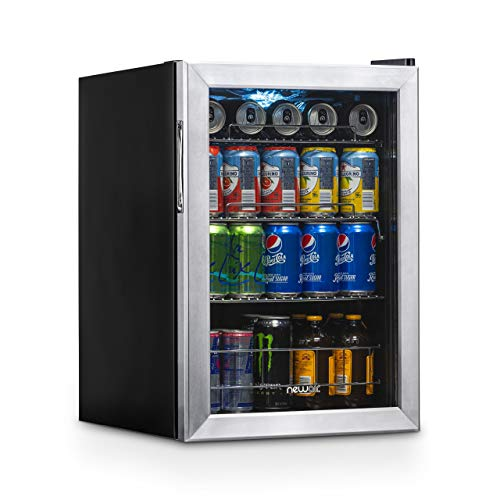 NewAir AB-850 Beverage Cooler and Refrigerator, Small Mini Fridge with Glass Door, Perfect for Soda Beer or Wine, 90-Can Capacity, Stainless Steel (Best Mini Fridge For Drinks)