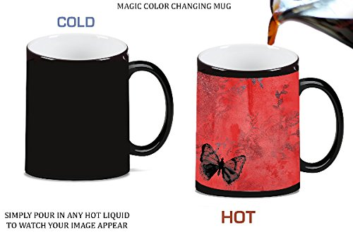 Butterfly Red Vintage Magic Color Morphing Ceramic Coffee Mug Tea Cup by Moonlight Printing ()