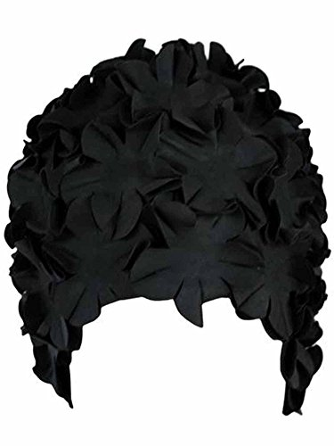 (Luxury Divas Black Latex Bathing Cap With Petals)