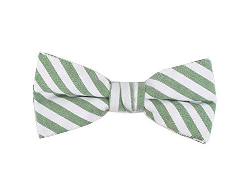 Born to Love - Boys Kids Pre Tied Adjustable Bowtie Christmas Holiday Party Dress Up (Medium, Green White Stripes) by Born to Love