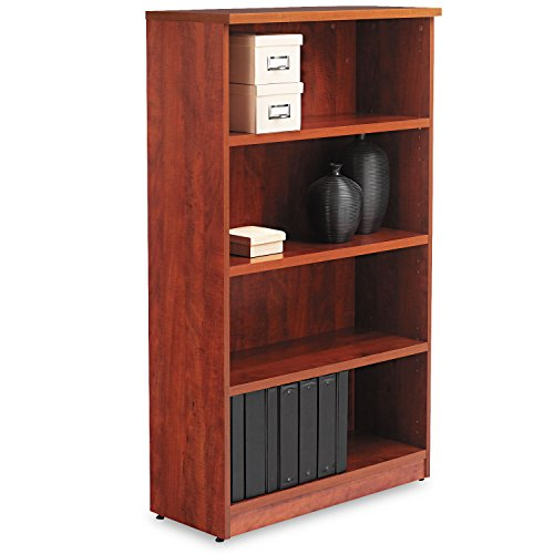 Alera VA635632MC Valencia Series Bookcase, Four-Shelf, 31 3/4w X 14d X 55h, Medium Cherry
