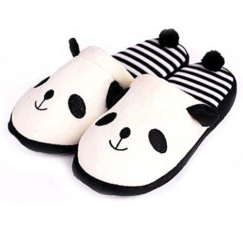 Härlig Tecknad Panda Toffel Vintern Varma Inneskor Vit