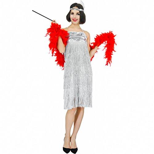 flatwhite Women's Fashion Flapper Party Costume (Silver) -