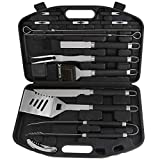 POLIGO 21pcs Heavy Duty BBQ Grill Tool Set with Heat Resistant Handle - Stainless Steel Barbecue Utensil Accessories in Plastic Storage Case - Complete Outdoor BBQ Grilling Kit - Birthday Gift for Men