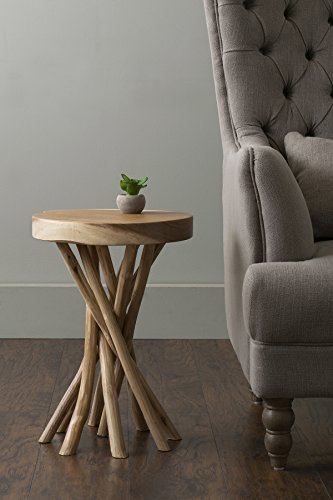 East At Main Kenton Teakwood Round Accent Table, Natural, (14x14x20) by East At Main (Image #3)