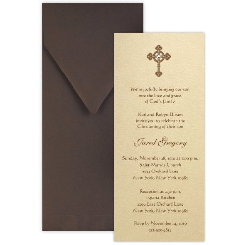 Tea with Thermography Style 1 Baptism Christening Invitation - Set of 20 ()