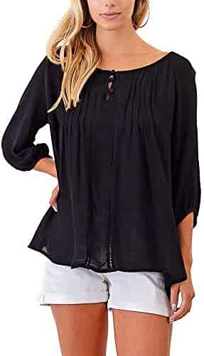 9d13c7d84da2d Carrie Allen White Peasant Blouse Top for Women with ¾ Sleeves and High-Low  Hem