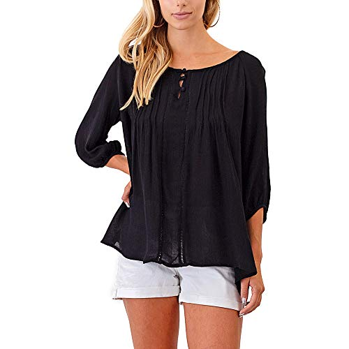 Carrie Allen Black Peasant Blouse Top for Women with ¾ Sleeves and High-Low Hem | Loose Fit (Small, Black)