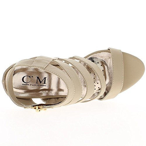 Sandali beige finiscono tacco 10,5 cm e sottili flange