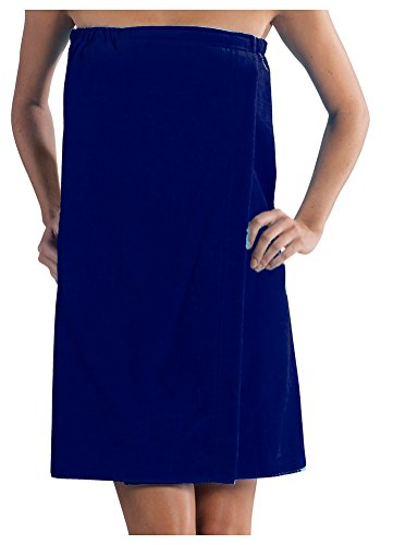 Cover Up Robe (Spa Bath Wrap Terry Cotton spa Cover Up, Navy Color, One Size)