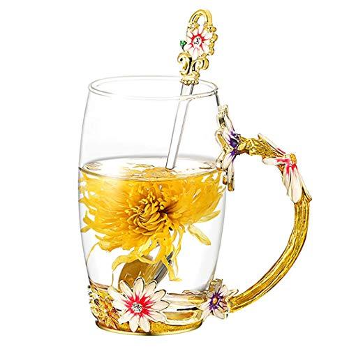 YBK Tech Creative Flower Glass Mug Crystal Glass Tea Cup with Handle for Hot Beverage, Iced Tea, Naked Juice - Chrysanthemum (Big (350ml) with Gift Box)