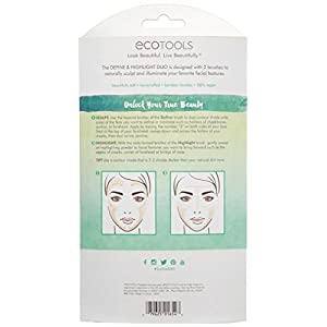Ecotools Cruelty Free Define and Highlight Duo, Made With Renewable Bamboo and Recycled Materials, Tapered Bristles, Highlight and Define, Best Used with Powders, Bronzers and Highlighters