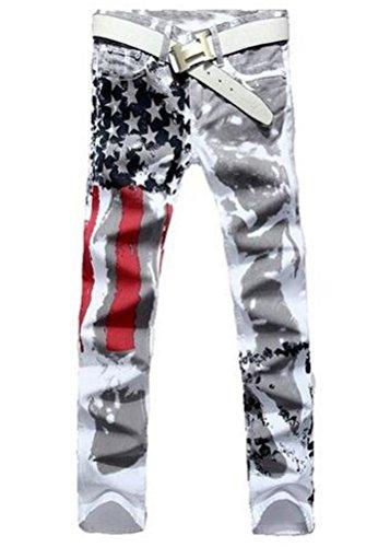 Sarriben Men's Slim Fit American Flag Distressed Straight Denim Jeans