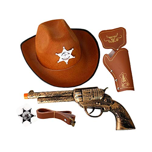 Sunny Hill Halloween Western Cowboy Gun & Holster Set with Sheriff Badge and Belt Hat (Western Cowboy Set)