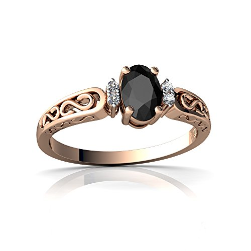 14kt Rose Gold Black Onyx and Diamond 6x4mm Oval filligree Scroll Ring - Size (Onyx Scroll)