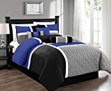 Blue Comforter Sets Queen Chezmoi Collection 7-Piece Quilted Patchwork Comforter Set, Gray/Blue/Black, Queen