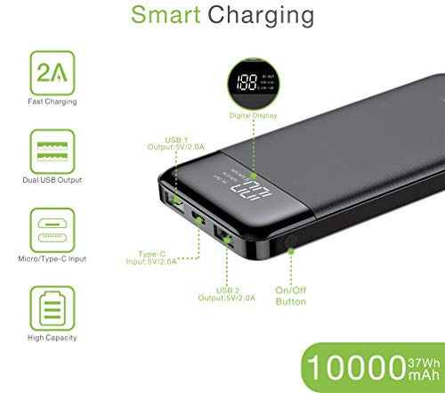 Veger W1056 LCD Display 10000 mAh Li Polymer Power Bank (Black) 2021 June 10000 mAh Li polymer Power Bank Intelligent Power Output LED Charging Indicator