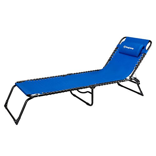 KingCamp Patio Lounge Chair Chaise Bed 3 Adjustable Reclining Positions Steel Frame 600D Oxford Folding Camping Cot with Removable Pillow for Camping Pool Beach Supports 300lbs by KingCamp (Image #8)