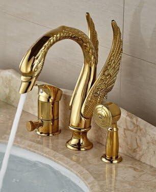 八瀬・王 蛇口卸売小売振興高級ゴールデン真鍮の浴室の蛇口スワンダイバーW/ハンドスプレーミキサーのタップ、クリア