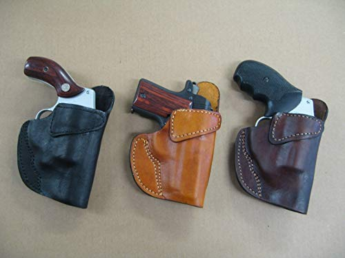 Azula Leather Clip On OWB Belt Concealment Holster for Smith & Wesson S&W 60, 36, 642 5 Shot Revolver TAN RH