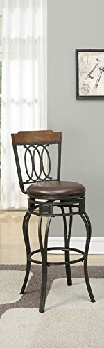 Poundex PDEX-F1524 Bobkona Earline 29 Seat Height Swivel Bar Stool, Brown, Set of 2