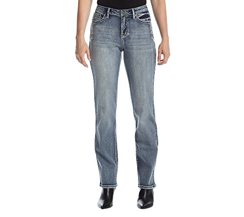 Back Flap Pocket (Earl Jean Daisy Embroidered Flap Back Pocket Jeans 10)