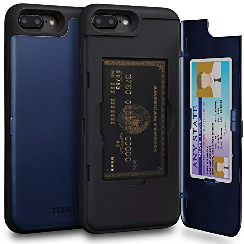 - TORU CX PRO iPhone 8 Plus Wallet Case Blue with Hidden Credit Card Holder ID Slot Hard Cover & Mirror for iPhone 8 Plus/iPhone 7 Plus - Navy Blue