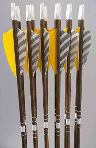 No Frontiers Archery Youth Cedar Arrows Yellow/Barred Feathers (12)