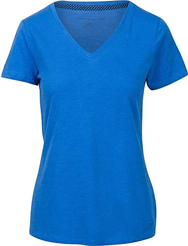 (Tommy Hilfiger Womens V-Neck Solid Color Logo T-Shirt - S - Pacific Blue)