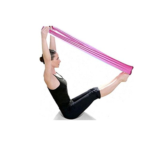 Bessky Pilates Yoga Workout Aerobics Stretch Tensile Elastic Band Straps (Pink)
