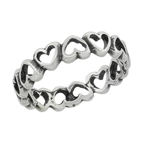 Sterling Silver Hearts Ring sizes