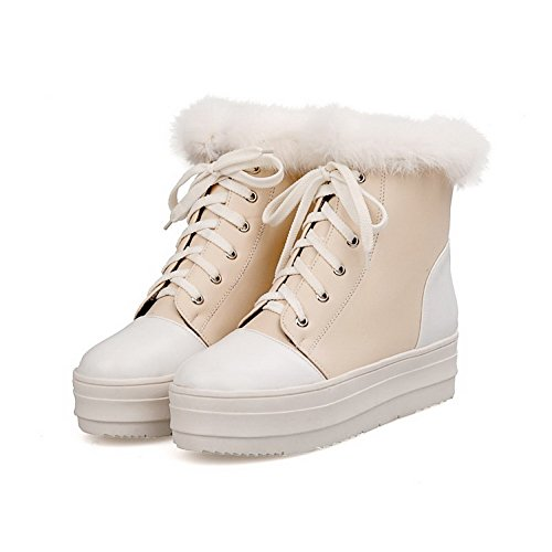 M Plush Round B with US Assorted Closed AmoonyFashionWomens Color 5 PU Boots Beige Heels Platform Kitten Toe Short HFqga0