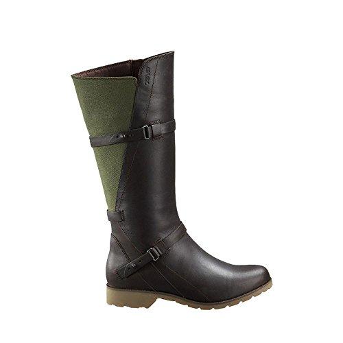 Teva Women's Delavina - Leather/Canvas Brown/Green Shoe