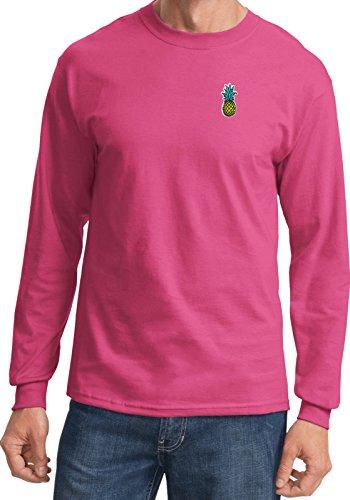 Mens Pineapple Patch Pocket Print Long Sleeve Shirt, Sangria, Small
