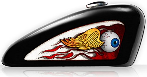 Motorcycle Style Vinyl Seat (Motorcycle Fuel Tank Decals - Vinyl, UV Coated, Harley Davidson Sportster Decals/Sticker Set (Removeable) - Von Dutch Style Flying Eye - 11 3/4