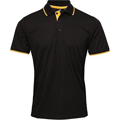 Premier Mens Coolchecker Contrast Trim Corporate Workwear Polo Shirt Black / Sunflower