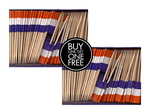 2 Boxes Mini Netherlands Toothpick Flags, BOGO Buy 1 Box of 100 and Get Another Box Free, Total 200 Small Mini Dutch Flag Cupcake Toothpicks or Tiny Cocktail Sticks & Picks ()
