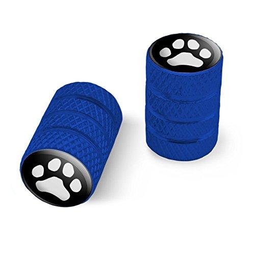 オートバイ自転車バイクタイヤリムホイールアルミバルブステムキャップ - ブルー Pawプリント犬猫ホワイト(ブラック)