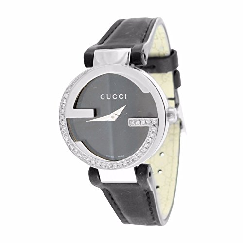 Mens I Gucci YA133205 Watch Interlocking GG 1 Carat Diamond Leather Band 42MM
