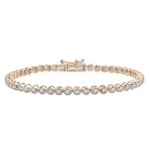 (Dazzlingrock Collection 1.00 Carat (ctw) 10K Round Cut White Diamond Ladies Tennis Bracelet 1 CT, Rose Gold )