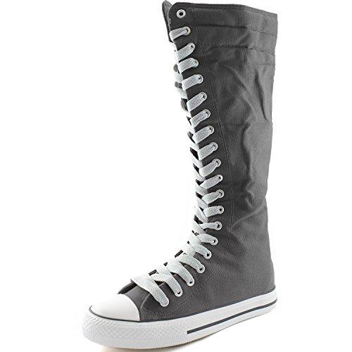 Dailyshoes Tela Donna Stivali Alti Metà Polpaccio Casual Sneaker Punk Flat, Stivali Grigi, Pulito Pizzo Grigio, 11 B (m) Us