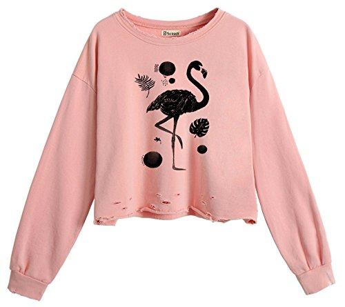 So'each Midriff Sweatshirt Pullover Tops Flamingo Hole Animal Women's Rojo Crop qwrHxpgq