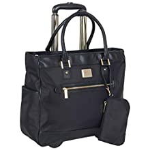 """Kenneth Cole Reaction Women's Runway Call 17"""" Laptop Anti-Theft RFID Wheeled Business Carry-On Tote, Black"""