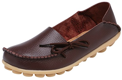 Serene Womens Dark Brown Leather Cowhide Casual Lace Up Flat Driving Shoes Boat Slip-On Loafers - Size 7.5